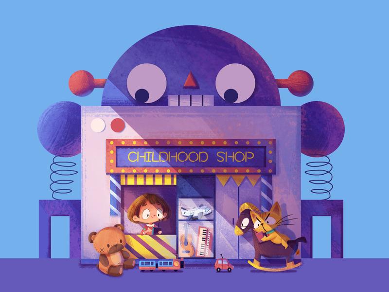 Toy Shop car childhood toy bear cartoon cat house girl illustration