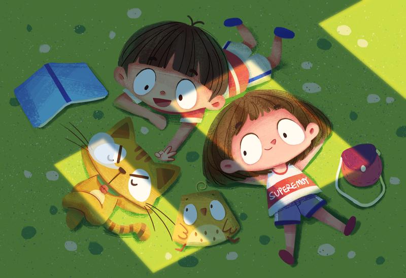 Together childhood green grass animal cat boy girl character illustration