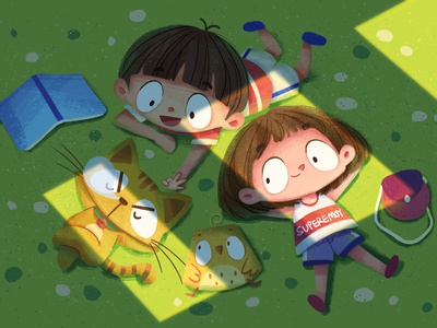 Together childhood green grass animal cat boy girl character illustration