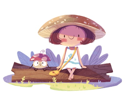 Mushroom girl mushroom character illustration girl