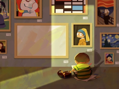 Exhibition life painting boy illustration