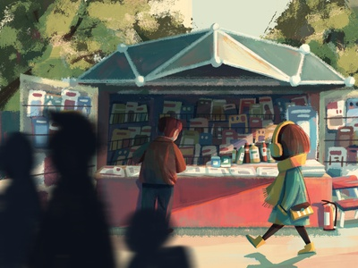 Newsstand magazine life newsstand book girl illustration