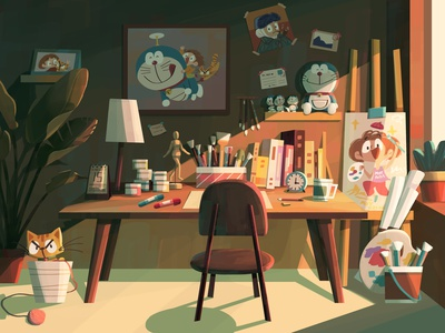 My Ideal Workspace studio room plant doraemon girl cat workspace illustration