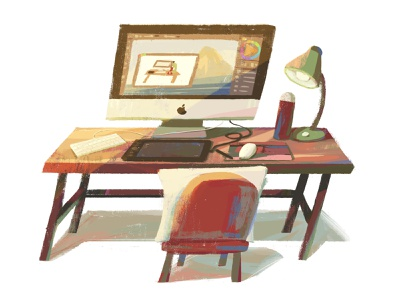 My Actual Workspace chair mac desk workspace illustration