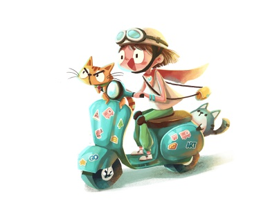 Motorbike cartoon motorbike animal cat girl character illustration