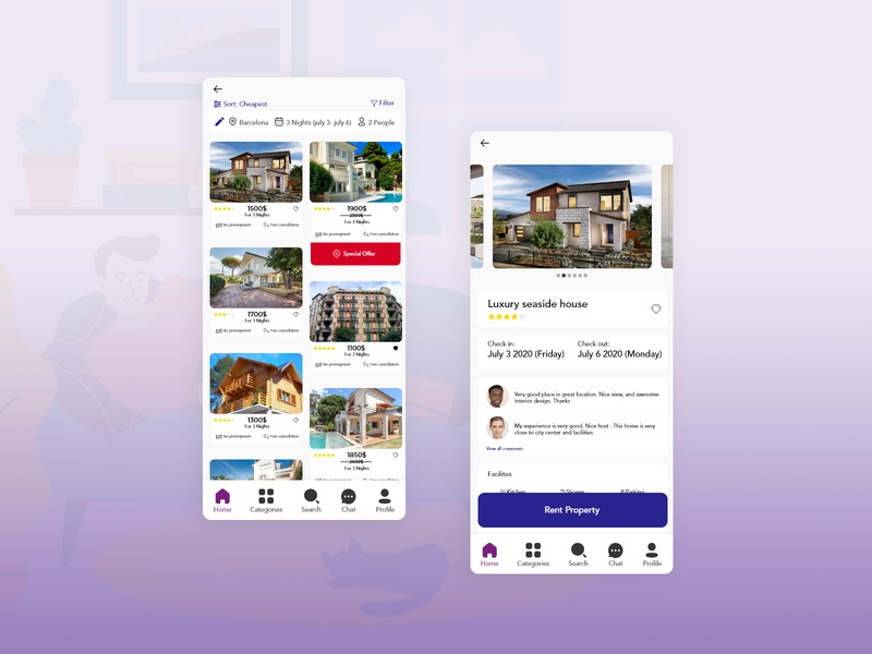 Rent property app concept uidesign uiux ui color homestay home apartment rent renting property