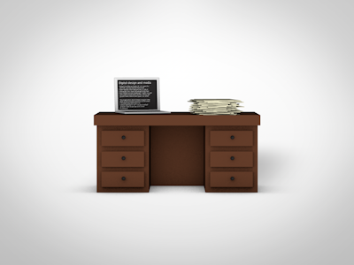 Working desk desk 3d icon laptop pile of papers papers teacher secretary work working office