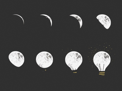 Phases of an idea moon phases screenprint illustration drawing