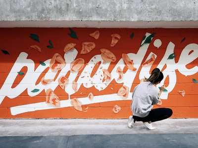 PARADISE Mural illustration flowers floral typography type handlettering lettering paradise painting mural