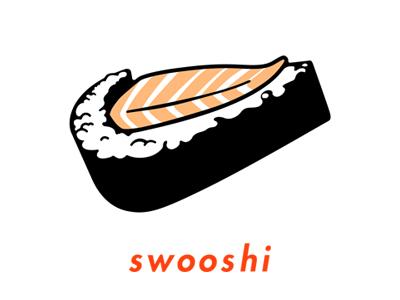 Swooshi Pin pun sashimi nike swoosh sushi design pin illustration
