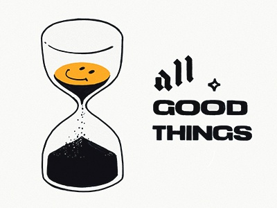 All Good Things icon smiley hourglass design pin illustration