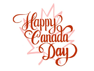 Happy Canada Day lettering type typography brush rough