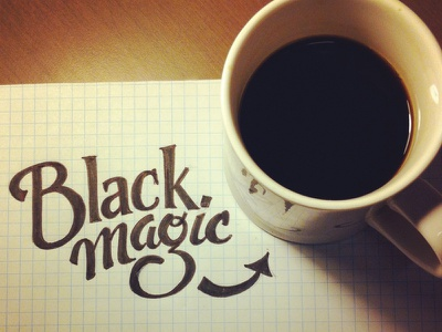 Black Magic lettering type coffee hand lettering