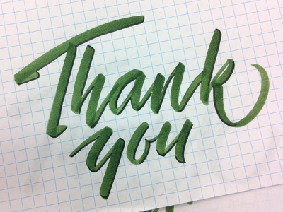 Thank You thank you lettering calligraphy type brush tombow