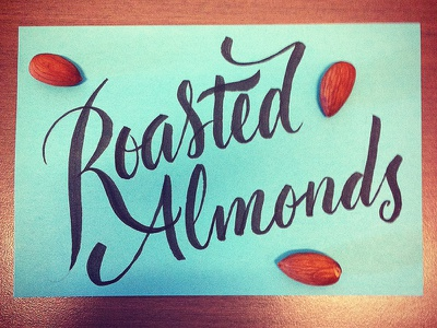 Roasted Almonds lettering type calligraphy brush lettering script