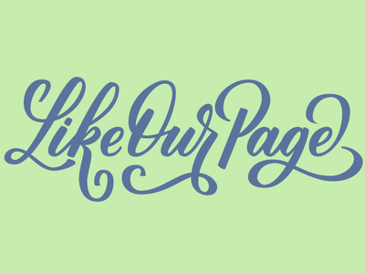 Like Our Page swash script social media typography type vector lettering