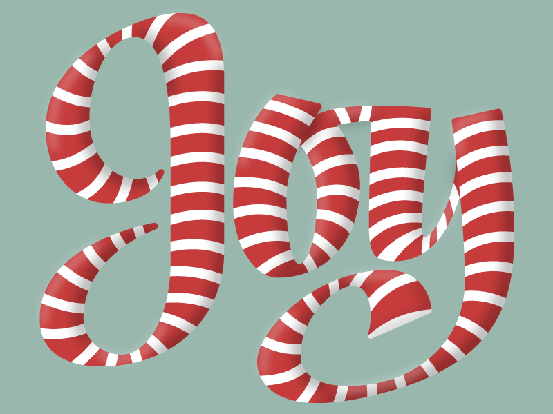 Joy Candy Cane Lettering broad nib hand lettering vector type script lettering