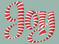 Joy Candy Cane Lettering