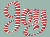 Joy Candy Cane Lettering