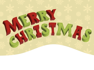 Merry Christmas lettering type blocky not so serious