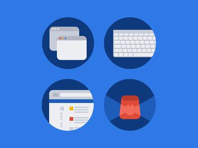 Illustrations for App Website blue flat website keyboard siren window circle