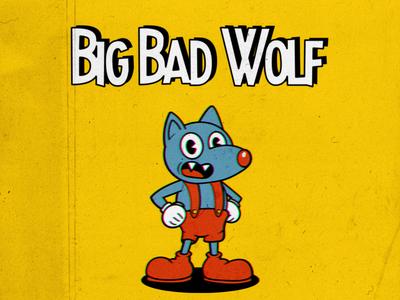 Big Bad Wolf type branding icon cartoon animation retro design logo illustration