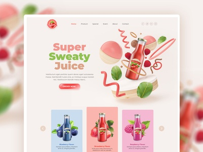 FREE PSD (Premium) - Strawberry Milk Website Theme free psd web design free psd pinky sweet web design