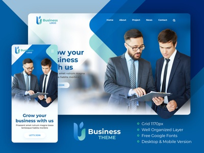 Blue Modern & Simple Business Theme constuction company corporate theme free psd website design
