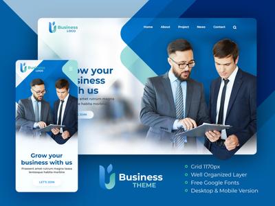 FREE PSD (Premium) - Blue Modern & Simple Business Theme constuction company corporate theme free psd website design
