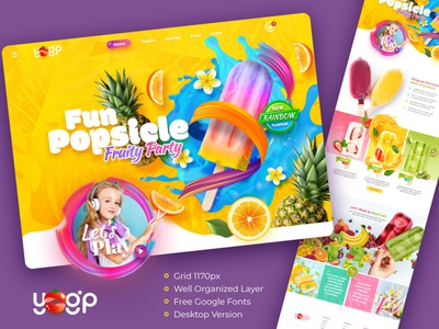 FREE PSD (Premium) - Ice Cream Fun Theme Website free psd mockup e-commerce design website design