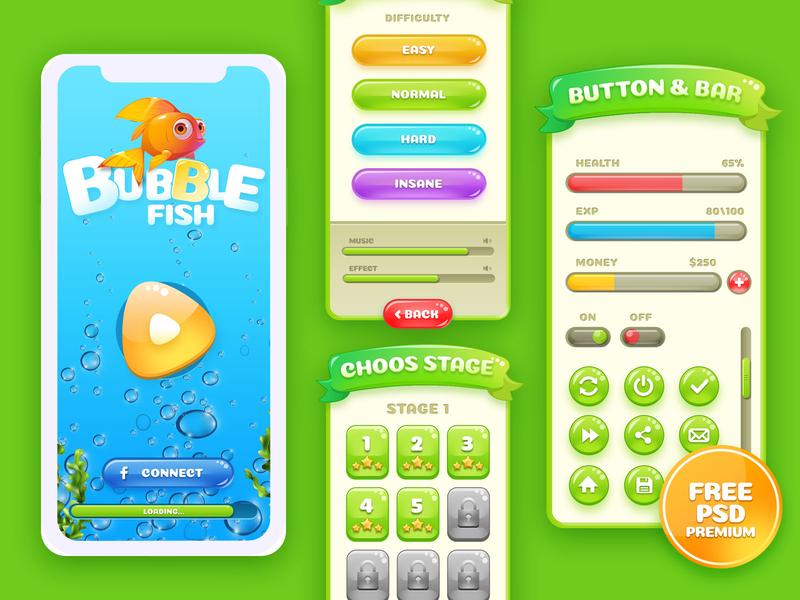 Bubble Glossy - UI Game Asset sleekdesign free psd free psd mockup game asset
