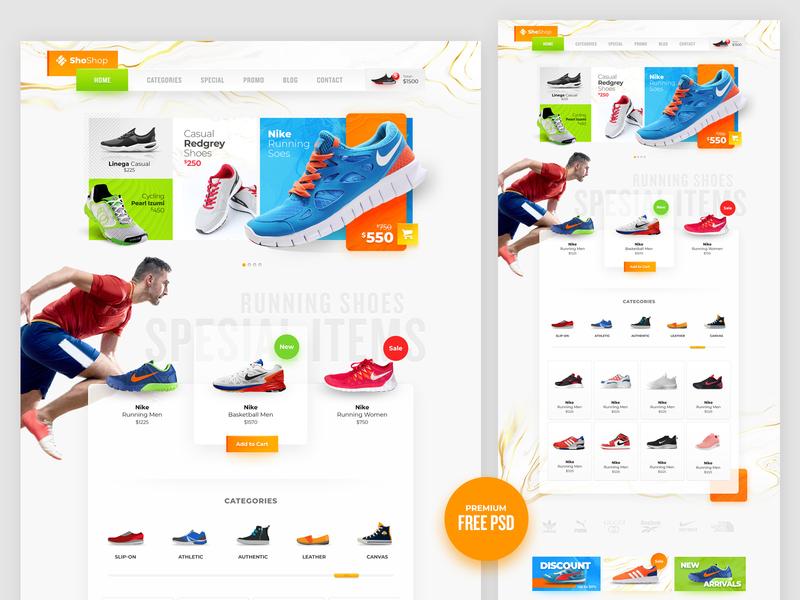 Sport Shoes eCommerce Design freebies free website template free psd web design free psd template e-commerce design free psd free psd mockup website design
