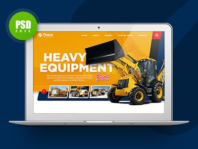 Free mockup PSD - Corporate Theme Website Design heavy equipment corporate theme constuction company oil company mining company