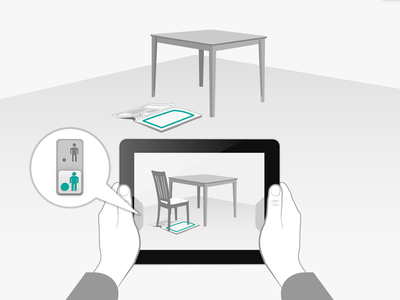 Help screen for augmented reality app ipad illustration mobile help screen augmented reality furniture israel