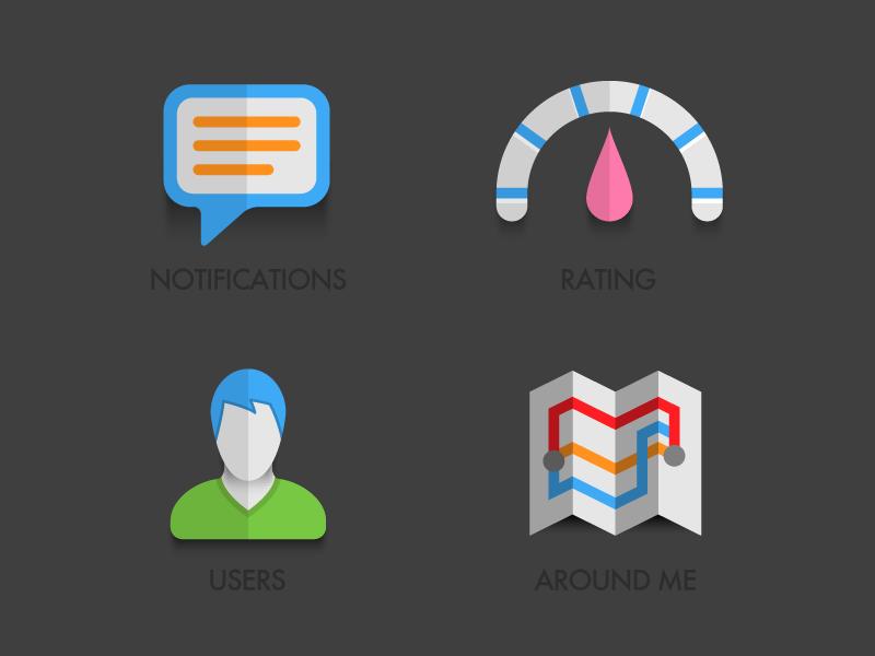 Icon set for mobile social app icons map user notification mobile app tel aviv israel
