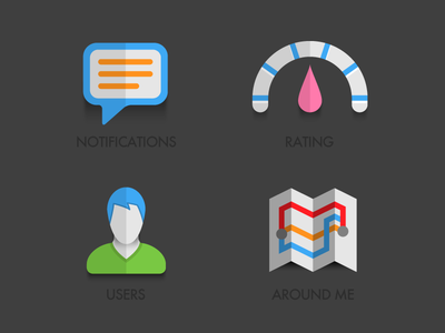Icon set for mobile social app