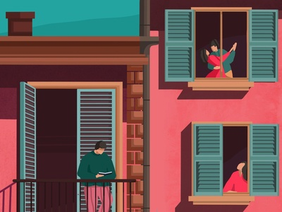 the fun continues love creative graphic artwork illustrations balcony windows read coupl people concept art categories illustration