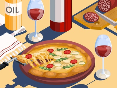 Have a good weekend) wine glass glass salami quarantine wine cheese pizza isometric art isometric graphic girl creative concept design categories artwork art illustration