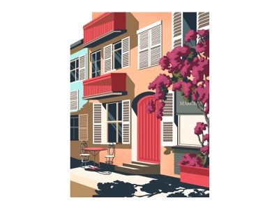 "Mini-series ""House"" landscape street artwork illustration art illustration art categories terrace cafe flowers home houses house"