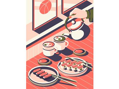 Food time illustration art artwork art drinks japan green flat illustration restaurant soy sauce menu sushi roll salmon sushi matcha asian asian food