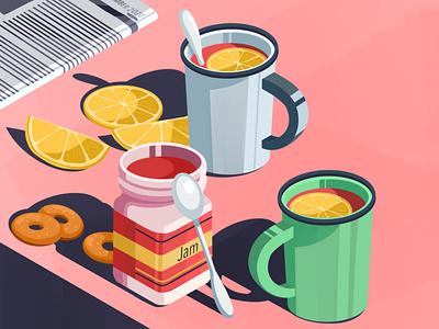 Tea artwork art illustration sick cup spoon bagel newspaper raspberries raspberry jam lemon tea tea cup