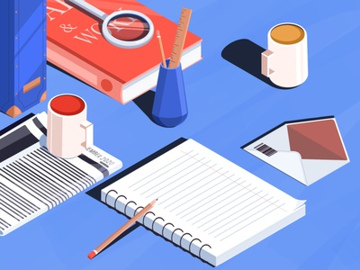Monday … illustration art art artwork isometric illustration isometric art illustration envelop ruler magnify glass magnifier book tea coffee newspaper pencil planner