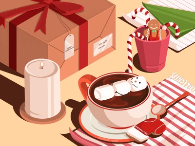 Christmas mood illustration artwork present cup candy bar candy lollipop marshmallow gingerbread man gingerbread cacao candles spoon new year christmas party christmas tree christmas santa