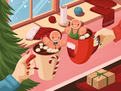 Christmas mood 3 cup candy bar candy lolipop marshmallow gingerbread man gingerbread cacao candle new year christmas tree santa illustration art art artwork illustration