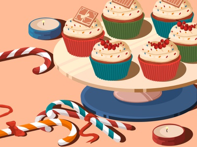 Cupcakes  😍 stayhome newyear christmas candle food illustration candy bar candy illustration art design artwork art illustration food cake cupcake