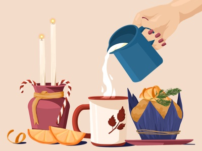 Christmas morning milk orange candle cupcake cup cake illustration art illustration artwork art holiday morning merrychristmas merry xmas christmas