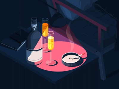 Champagne cocktail bar art illustration illustration art artwork old fashioned isometric cocktail contrast drink champagne