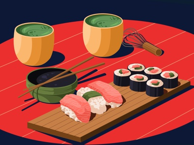 Sushi sushi roll soy sauce art food and drink illustration art artwork illustration asian food foodillustrator food sashimi tea matcha salmon sushi
