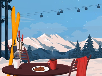 Winter cookie tea artwork illustration art art illustration skiing nature landscape adventure mountain snow cold travel silence relax