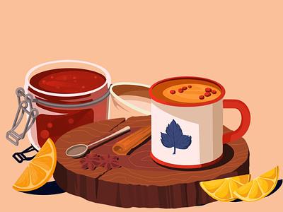 Tea illustration art illustration artwork art cinnamon tea cup tea lemon spoon cup sick jam strawberry